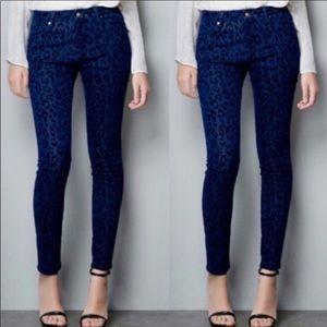 Free People Leopard Animal Print Skinny Jeans 27